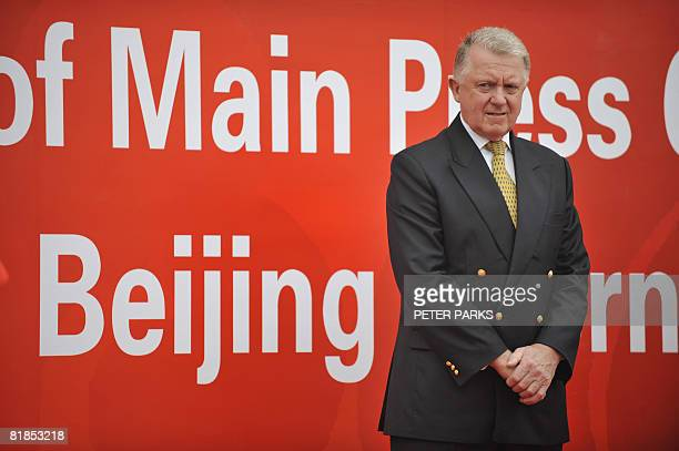 Hein Verbruggen of the International Olympic Committee attends a ceremony to open the Olympic Games Media Centre at the Olympic Green in Beijing on...