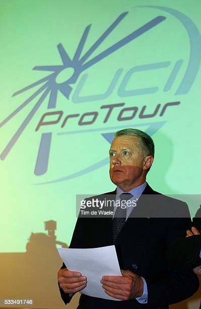 Hein Verbruggen president of the International Cycling Union attends the launch of the Cycling Pro Tour