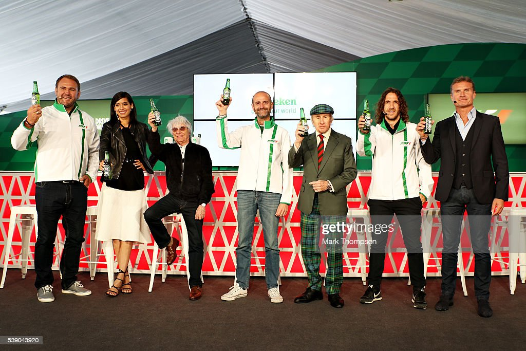 Heineken announces global partnership with Formula One Management. F1 supremo Bernie Ecclestone, centre, joins Gianluca Di Tondo, Senior Director Global Heineken Brand and Heineken ambassadors (left to right) Scott Quinnell, Stephanie Sigman, Sir Jackie Stewart, Carles Puyol and David Coulthard during previews to the Canadian Formula One Grand Prix at Circuit Gilles Villeneuve on June 9, 2016 in Montreal, Canada.
