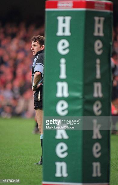 Heineken Cup Rugby Union Final Cardiff v Toulouse Jonathan Davies stands beside the Heineken post protector