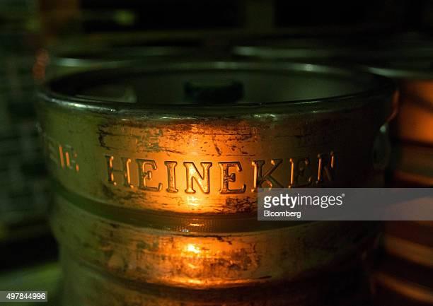 A Heineken logo sits on the side of a beer keg inside the warehouse at the Heineken NV brewery in Saint Petersburg Russia on Wednesday Nov 18 2015...