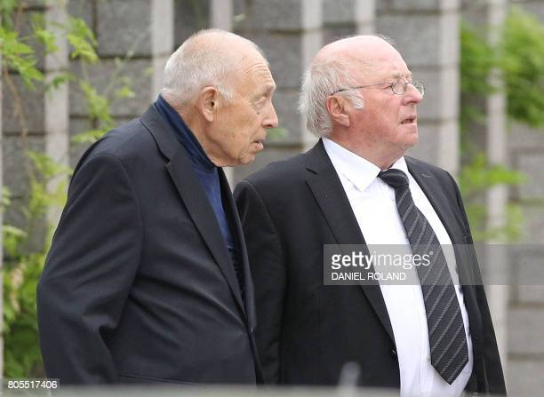 Heiner Geissler and Norbert Bluem arrive for a memorial service for late former Chancellor Helmut Kohl on July 1 2017 at the cathedral in Speyer...