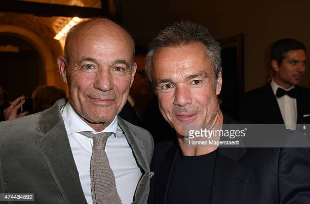 Heiner Lauterbach and Hannes Jaenicke attend the Bayerischer Fernsehpreis 2015 at Prinzregententheater on May 22 2015 in Munich Germany
