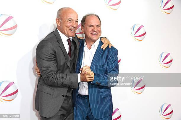 Heiner Lauterbach and Uwe Ochsenknecht during the premiere of the film 'Die Udo Honig Story' at Gloria Palast in Munich on September 1 2015 in Munich...