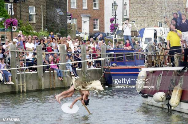 Heini 'The Mad Dane' Nielsen from Queenborough on the Isle of Sheppey in Kent takes part in the 7th World Walking the Plank Championships in...