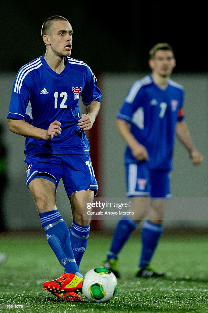 Heini Vatnsdal of Faroe Islands controls the ball during the International Friendly football match between Gibraltar and Faroe Islands at Victoria...