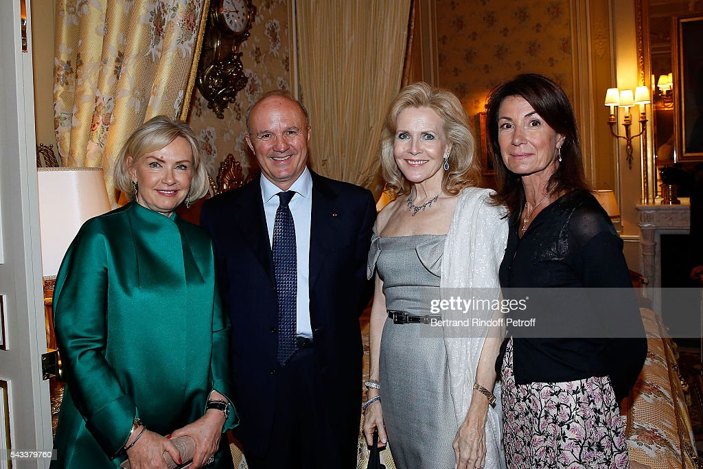Heini Wathen, General Jean-Louis Georgelin, Melissa Bouygues and Valerie Breton attend the 'Colonne Vendome' Is Unveiled After Restoration Works on June 27, 2016 in Paris, France.