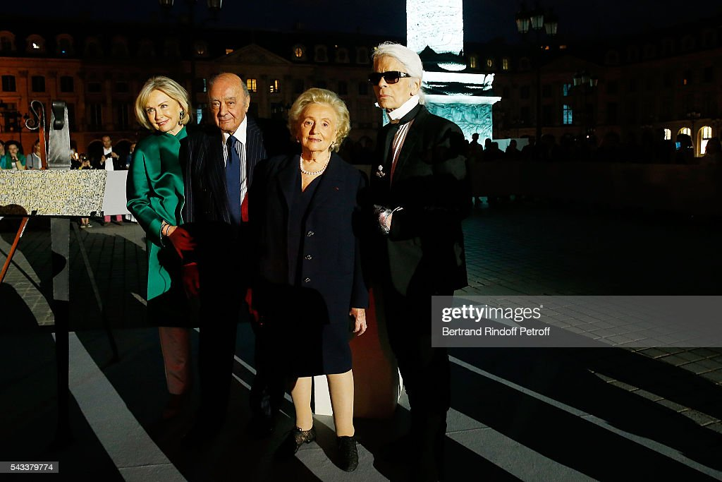 Heini Wathen, <a gi-track='captionPersonalityLinkClicked' href=/galleries/search?phrase=Mohamed+Al-Fayed&family=editorial&specificpeople=869906 ng-click='$event.stopPropagation()'>Mohamed Al-Fayed</a>, <a gi-track='captionPersonalityLinkClicked' href=/galleries/search?phrase=Bernadette+Chirac&family=editorial&specificpeople=206432 ng-click='$event.stopPropagation()'>Bernadette Chirac</a> and Karl Lagerfeld attend the 'Colonne Vendome' Is Unveiled After Restoration Works on June 27, 2016 in Paris, France.