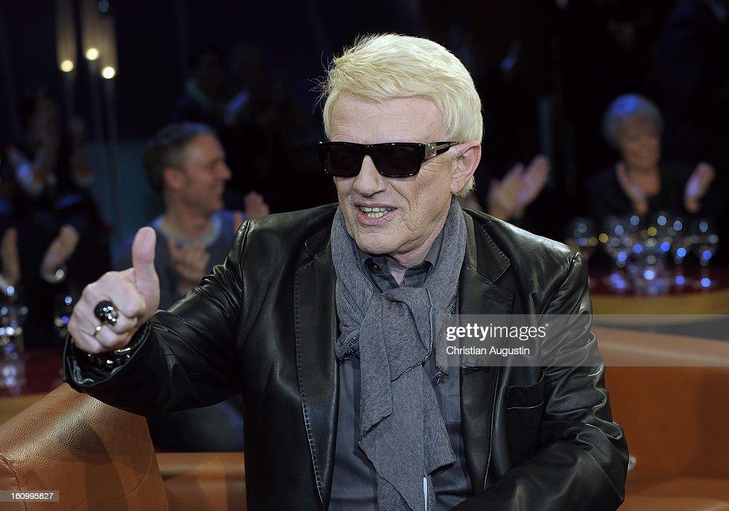 <a gi-track='captionPersonalityLinkClicked' href=/galleries/search?phrase=Heino&family=editorial&specificpeople=2241026 ng-click='$event.stopPropagation()'>Heino</a> (Heinz Georg Kramm) attends a photocall for NDR Talk Show at NDR TV Studio on February 8, 2013 in Hamburg, Germany.