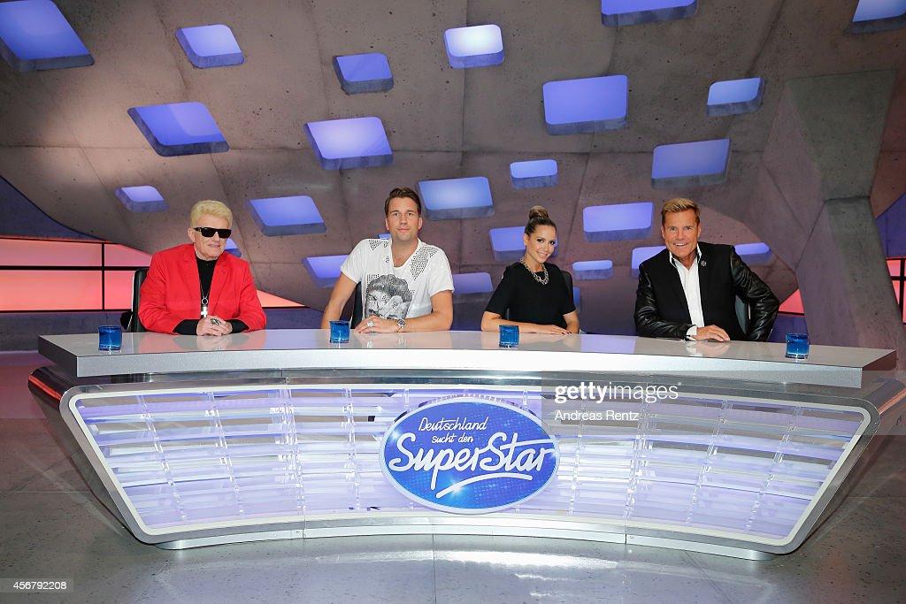 Heino, DJ Antoine, Mandy Capristo and Dieter Bohlen attend the 'Deutschland sucht den Superstar' jury photocall on October 7, 2014 in Cologne, Germany.