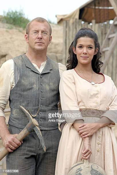 Heino Ferch and Melanie Doutey during On Set of German TV's Sat 1 Film 'Auf der Jagd nach dem Schatz von Troja' in Berlin Germany