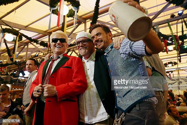 Heino Gerry Friedle aka DJ Oetzi and Florian Silbereisen attend the opening of the 2016 Oktoberfest beer festival at Theresienwiese on September 17...