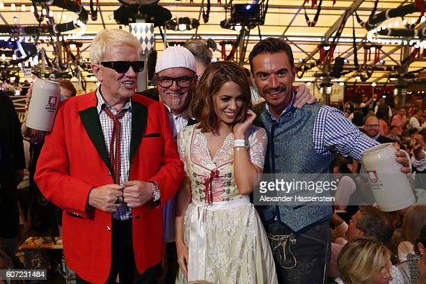 Heino Gerry Friedle aka DJ Oetzi Vanessa Mai and Florian Silbereisen attend the opening of the 2016 Oktoberfest beer festival at Theresienwiese on...