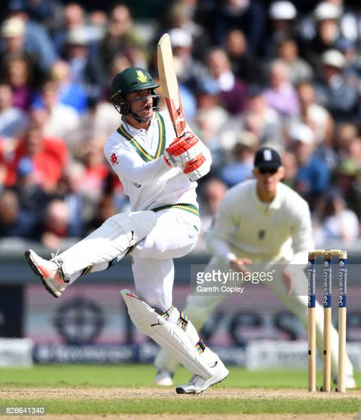 Heino Kuhn of South Africa bats during day two of the 4th Investec Test between England and South Africa at Old Trafford on August 5 2017 in...