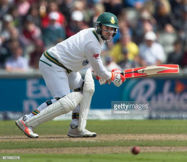 Heino Kuhn of South Africa batting during the second day of the fourth test between England and South Africa at Old Trafford on August 5 2017 in...