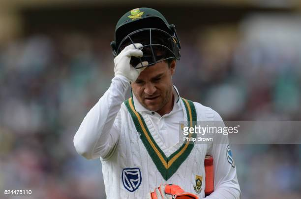 Heino Kuhn of South Africa leaves the field after being dismissed during the fourth day of the 3rd Investec Test match between England and South...