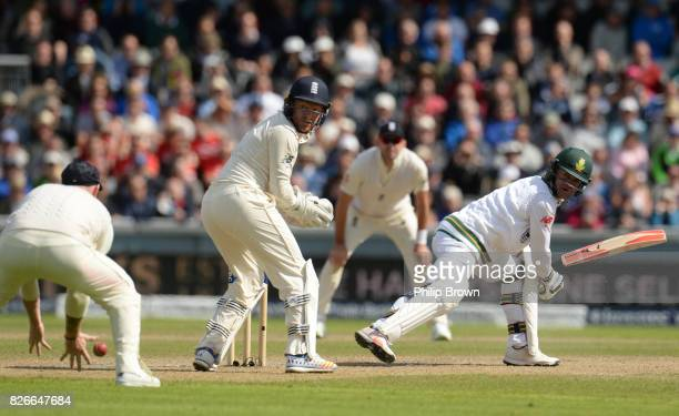 Heino Kuhn of South Africa watches as he is caught by Ben Stokes of England during the second day of the 4th Investec Test match between England and...