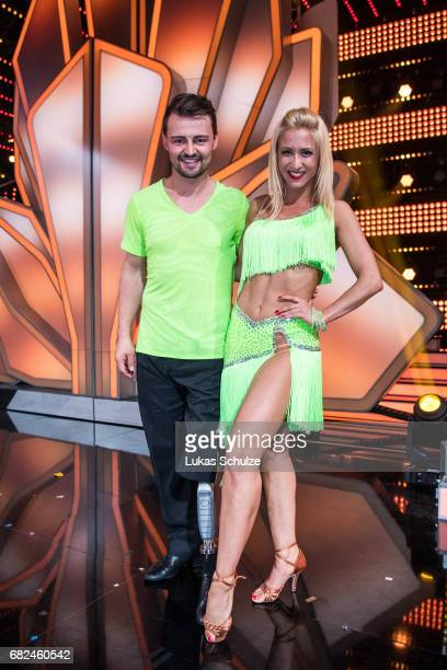 Heinrich Popow and Kathrin Menzinger pose after the 8th show of the tenth season of the television competition 'Let's Dance' on May 12 2017 in...