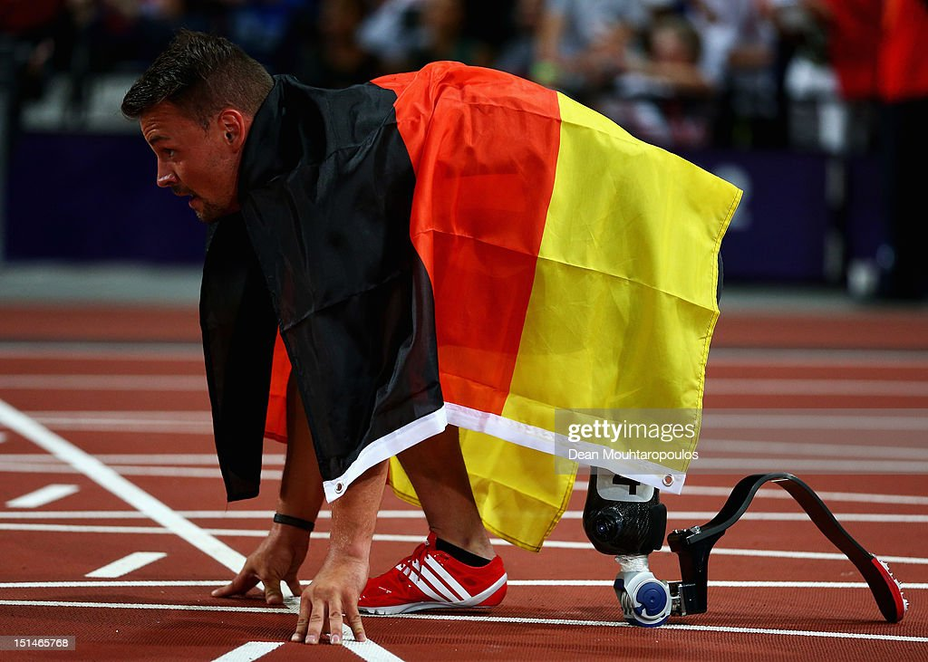 Heinrich Popow of Germany takes a moment on the start line after winning the gold medal in the men's 100m T42 on Day 9 of the London 2012 Paralympic Games at the Olympic Stadium