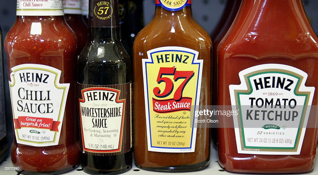 H.J. Heinz Co. products are displayed at a grocery store June 12, 2003 in Chicago, Illinois. Heinz announced today that its quarterly net earnings dropped sharply sending its stock down more than 3 percent due to increasing costs.