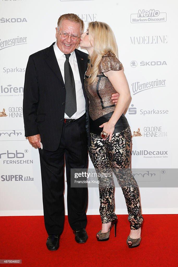 Heinz Hormann and Beatrice Egli attend Madeleine at Goldene Henne 2014 on October 10 2014 in Leipzig Germany