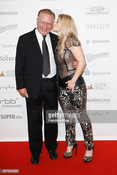 Heinz Hormann and Beatrice Egli attend Madeleine at Goldene Henne 2014 on October 10 2014 in Leipzig Germany
