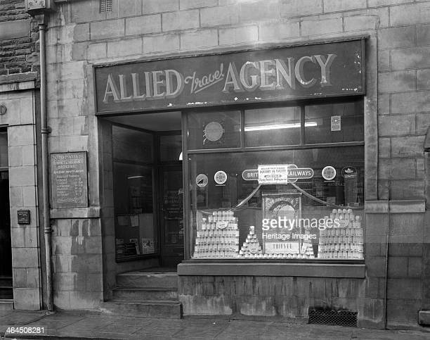 Heinz promotion in the Allied Travel Agency window Mexborough South Yorkshire 1960 Heinz promotion advertising holidays to Trieste in conjuction with...