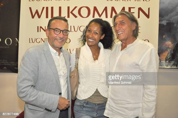 Heinz Stiastny Monika Zechner and Norbert Blecha pose during the 'Wish Upon' premiere in Vienna at Lugner Lounge Kino on July 25 2017 in Vienna...
