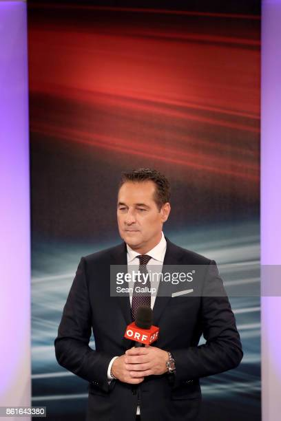 HeinzChristian Strache lead candidate of the rightwing Austria Freedom Party gives television interviews following Austrian parliamentary elections...