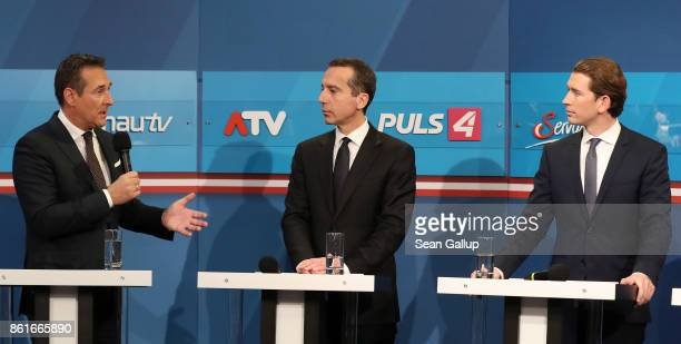 HeinzChristian Strache lead candidate of the rightwing Austria Freedom Party Christian Kern Austrian Chancellor and leader of the Austrian Social...