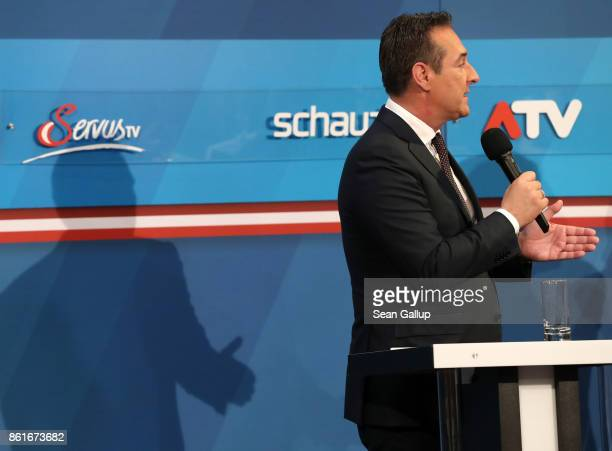 HeinzChristian Strache lead candidate of the rightwing Austria Freedom Party speaks at a television interview following Austrian parliamentary...