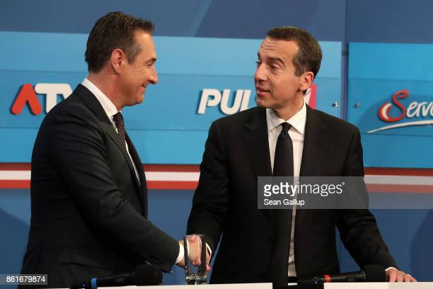 HeinzChristian Strache lead candidate of the rightwing Austria Freedom Party and Christian Kern Austrian Chancellor and leader of the Austrian Social...