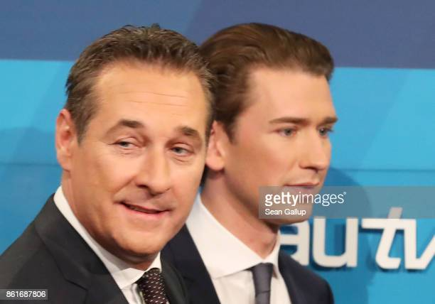 HeinzChristian Strache lead candidate of the rightwing Austria Freedom Party and Sebastian Kurz Austrian Foreign Minister and leader of the...