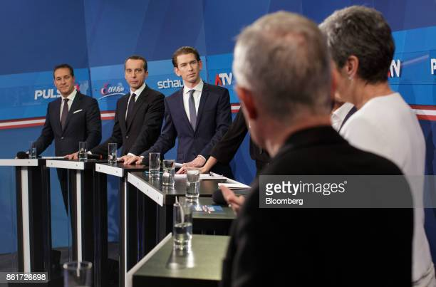 HeinzChristian Strache leader of the Freedom Party from left Christian Kern Austria's chancellorand chairman of the Social Democratic Party...