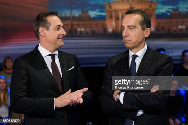 HeinzChristian Strache of the rightwing Austrian Freedom Party and Austrian Chancellor Christian Kern of the Social Democratic Party are seen at ORF...