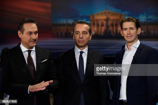 HeinzChristian Strache of the rightwing Austrian Freedom Party Austrian Chancellor Christian Kern of the Social Democratic Party and Austrian Foreign...