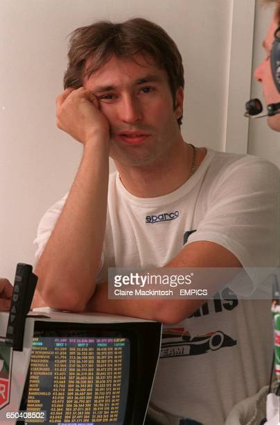 HeinzHarald Frentzen shows his disappointment after gaining sixth place on the grid