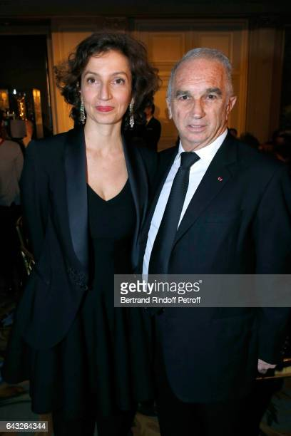 French Minister of Culture and Communication Audrey Azoulay and President of Academie des Cesars Alain Terzian attend the 'Diner des Producteurs'...
