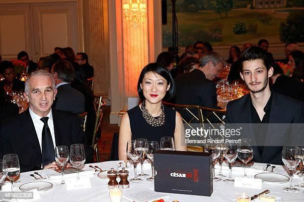 Cesar Academy President Alain Terzian and French minister of Culture Communication Fleur Pellerin and actor Pierre Niney attend the 'Diner Des...