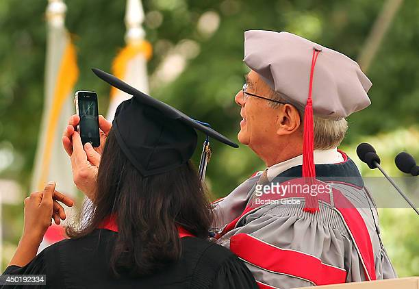 MIT held its graduation on it's campus President of the class of 2014 Anika Gupta left stands with MIT President L Rafael Reif after she spoke He...