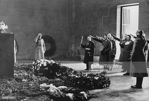Heldengedenktag wreath ceremony in the Neue Wache Unter den Linden in Berlin from right Admiral Erich Raeder Adolf Hitler field marshals Walther von...
