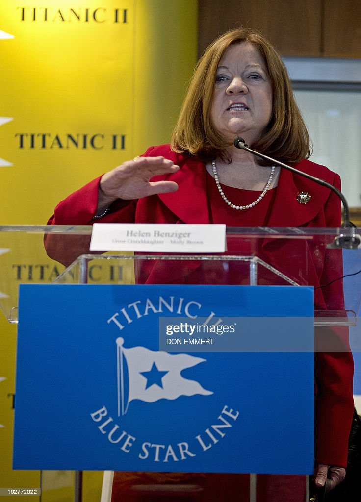 Helen Benziger,Margaret 'Molly' Brown's great grandaughter, talks about plans for building a perfect replica of the Titanic at a news conference February 26, 2013 in New York. Flamboyant Australian tycoon Clive Palmer unveiled his plan Tuesday for building a perfect replica of the Titanic -- plus a lot of extra lifeboats. More than a century after the original, supposedly unsinkable ocean liner hit an iceberg and went down in the North Atlantic, Palmer says he thinks the time has come to complete the unfinished journey to New York. 'The Titanic was the ship of dreams. Titanic II is the ship where dreams will come true,' Palmer said in New York at the project's official launch. Brown, who became known as 'The Unsinkable Molly Brown,' was an American socialite, philanthropist, and activist who became famous due to her survival of the 1912 sinking of the RMS Titanic, after exhorting the crew of Lifeboat No. 6 to return to look for survivors.