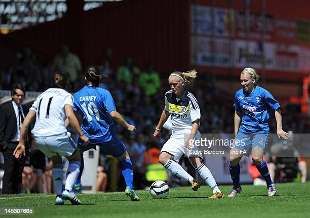 Helen Bleazard of Chelsea evades the Birmingham City defenders during the FA Women's Cup Final between Birmingham City Ladies FC and Chelsea Ladies...