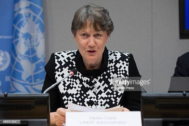 Helen Clark Administrator of the UN Development Programme addresses a press briefing to announce the winners of the 2015 Equator Prize which will be...