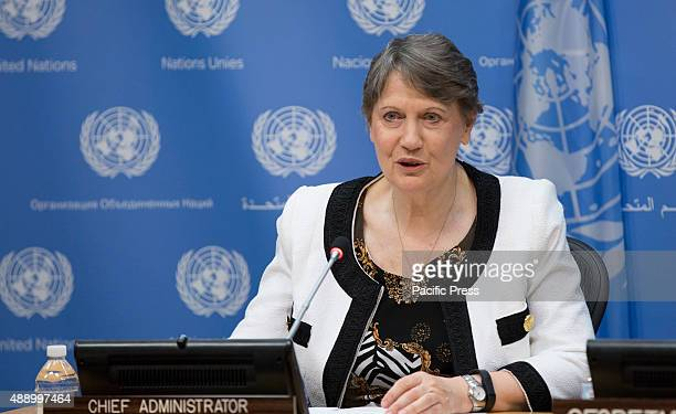 Helen Clark Administrator of the United Nations Development Programme and candidate for the job of UN Secretary General 2016 during a Press briefing...
