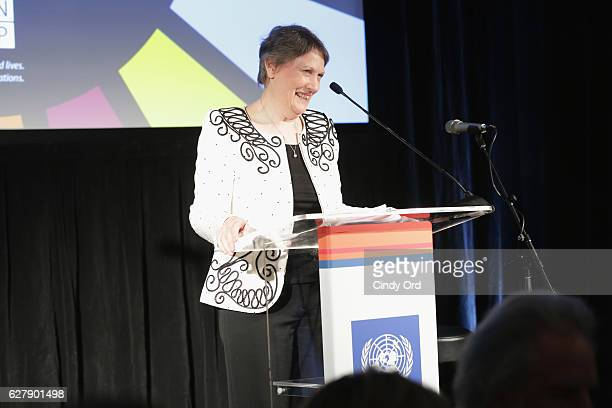 Helen Clark Administrator of the United Nations Development Programme speaks onstage at the United Nations Development Programme Inaugural Global...
