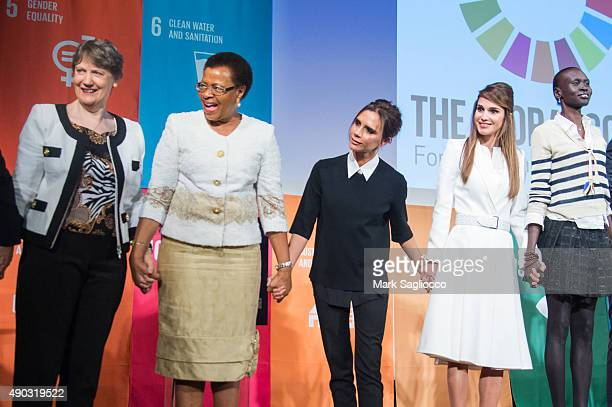 Helen Clark Graca Machel Victoria Beckham Her Majesty Queen Rania Al Abdullah of Jordan and Alek Wek attend the Social Good Summit at the 92nd Street...