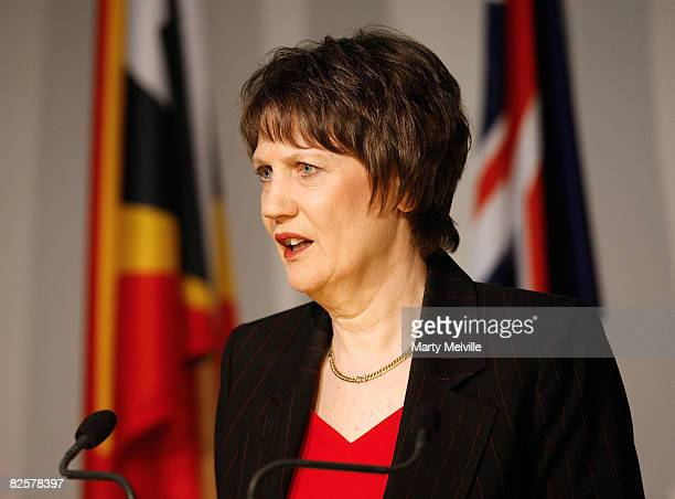 Helen Clark Prime Minister of New Zealand speaks to the media during a joint press conference at Parliament on August 28 2008 in Wellington New...