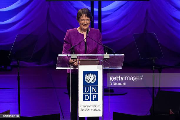 Helen Clark speaks on stage during the United Nations 2014 Equator Prize Gala at Avery Fisher Hall Lincoln Center on September 22 2014 in New York...