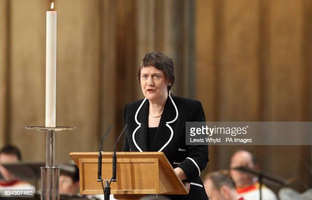 Helen Clark the Prime Minister of New Zealand during the service of Thanksgiving for the life of Sir Edmund Hillary at St George's Chapel Windsor